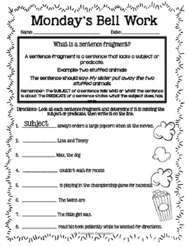 4th Grade ELA Morning Work/Bell Work: WHOLE month! September Themed ...