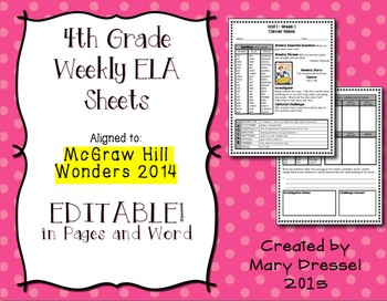 4th Grade ELA Sheets - McGraw Hill Wonders.  BUNDLE