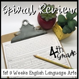 4th Grade ELA Spiral Review 1st 9 Weeks