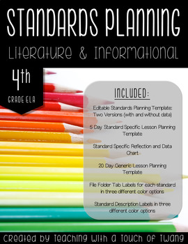 4th Grade ELA Standards Planning Tool Kit