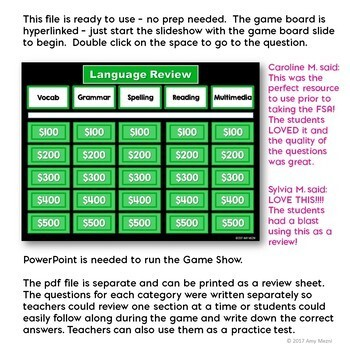 4th Grade ELA Test Prep Game Show & Review Sheets FSA AIR