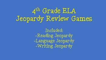 4th Grade ELA Test Prep Jeopardy Game BUNDLE