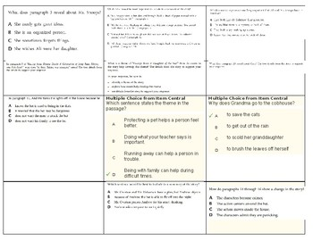 4th Grade ELA  Test Questions by CCLS Standards