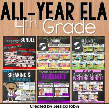 4th Grade ELA Year-Long GROWING Bundle- All Common Core Standards for ELA