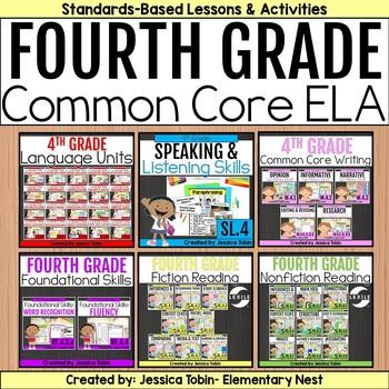 4th Grade ELA Year-Long Bundle Curriculum-  ELA Common Core Standards