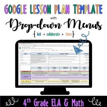 Google Lesson Plan Template with Drop-down Menus {Common Core 4th ELA and Math}