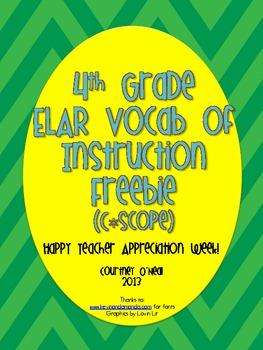 4th Grade ELAR TEKS Resource System Vocabulary of Instruction