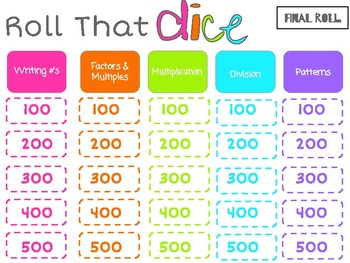 4th Grade EOY Math Review #1: Roll the Dice
