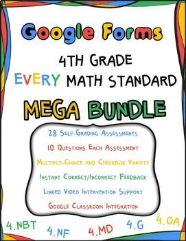 4th Grade Math Google Forms MEGA BUNDLE with Detailed Feedback