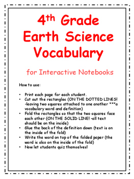 4th Grade Earth Science Vocabulary