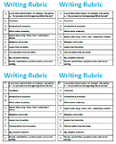 4th Grade Easy Writing Rubric Checklist