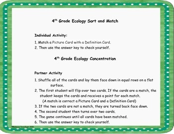 4th Grade Ecology Sort and Match