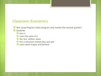 4th Grade Economics Unit and School Wide Market System CC Aligned