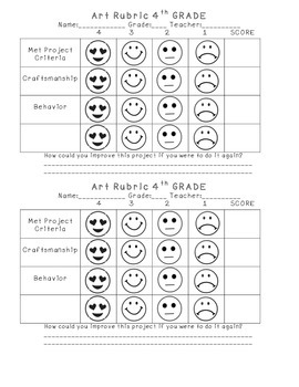 4th Grade Elementary Art Self-Assessment Rubric