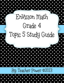 4th Grade EnVision Math Topic 5 Study Guide with Answer Key
