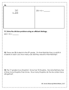 4th G End of Year Math Assessment