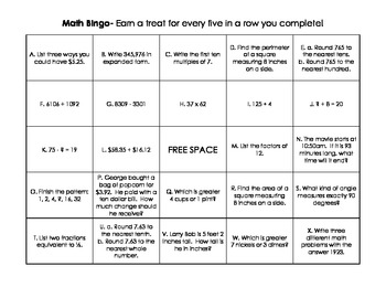 4th Grade End of Year Math Bingo Review- Independent or Partners