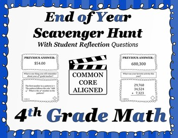 4th Grade End of Year Math Scavenger Hunt - With Student Reflection