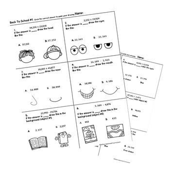 Free Back To School Math Activities Math Art Worksheets