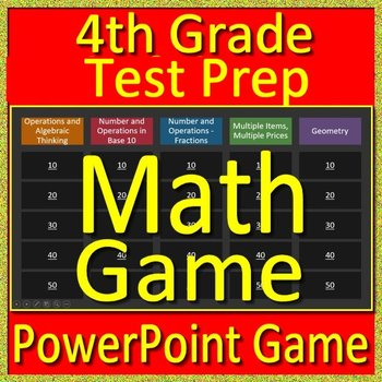 4th Grade Beginning of the Year Math Game and Test Prep Back to School