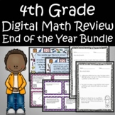 4th Grade End of the Year Math Review Digital Bundle Task Cards and Escape Room