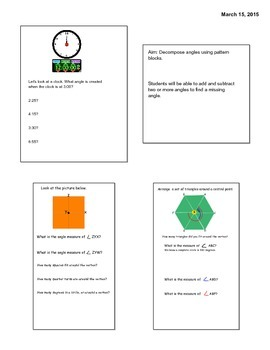 4th Grade Engage Module 4 Lesson 9 Smartboard Lesson Angles using Pattern Blocks