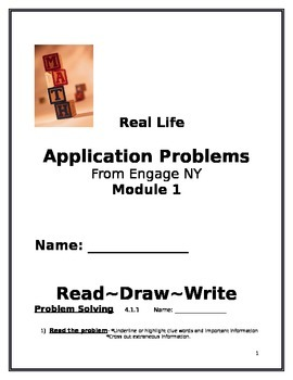 4th Grade: Engage NY Module 1 Application Problems, Read:Draw:Write Template