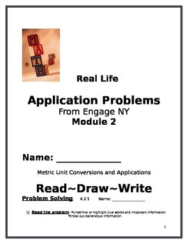 4th Grade: Engage NY Module 2 Application Problems, Read:Draw:Write Template