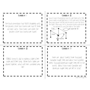 4th Grade Engage NY Module 3 Application Problem Task Cards