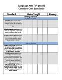 4th Grade English Common Core Standards Checklist