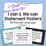 I Can Statements 4th Grade ELA Posters | I Can & We Can - Kid Language