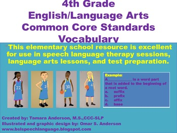 4th Grade English/Language Arts Common Core Standards Vocabulary