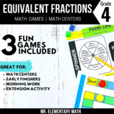 Equivalent Fractions Games and Centers 4th Grade