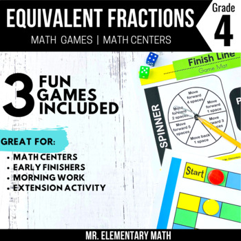 4th Grade Equivalent Fractions Games and Centers