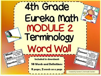 4th Grade Eureka Math Mod 2 Terminology Word Wall 16 Words and Definitions!