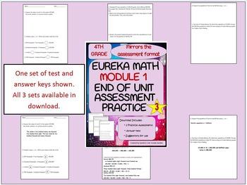 4th Grade Eureka Math Module 1 End of Unit Practice Assessments   3 Tests!