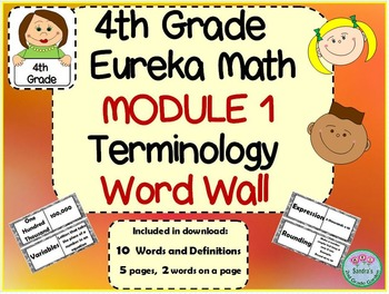 4th Grade Eureka Math Module 1 Terminology Word Wall with Definitions