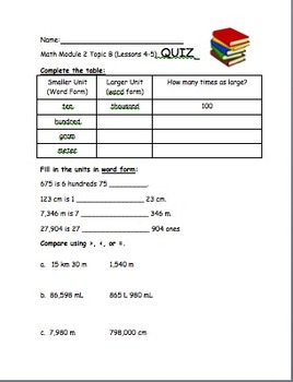 4th Grade Eureka Math Module 2 Topic B (Lessons 4-5) Differentiated Quiz/Review