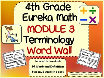4th Grade Eureka Math Module 3 Terminology Word Wall with Definitions