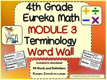 4th Grade Eureka Math Module 3 Terminology Word Wall with