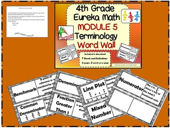 4th Grade Eureka Math Module 4 Word Wall With Definitions