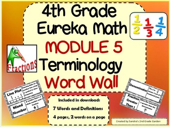 4th Grade Eureka Math Module 5 Word Wall With Definitions