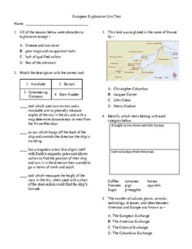 4th Grade European Explorers Unit Test