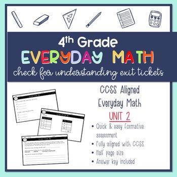4th Grade Everyday Math Exit Slips (Unit 2)