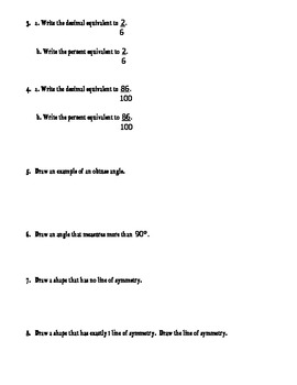 4th Grade Everyday Math Unit 10 Review - Same Format as Test