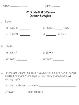 4th Grade Everyday Math Unit 6 Review/Study Guide - 4th Edition