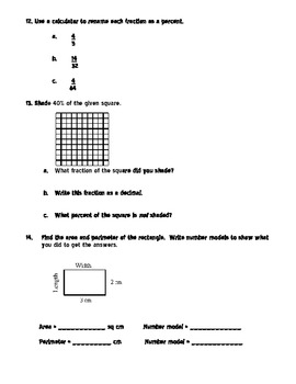 4th Grade Everyday Math Unit 9 Review - Same Format as Test
