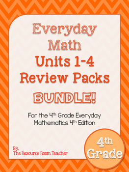 4th Grade Everyday Math Units 1-4 Review/Study Guide BUNDLE!