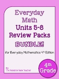 4th Grade Everyday Math Units 5-8 Review/Study Guide BUNDLE!