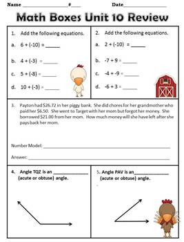 4th Grade Everyday Math Yearly Reviews ~ Units 1 -12